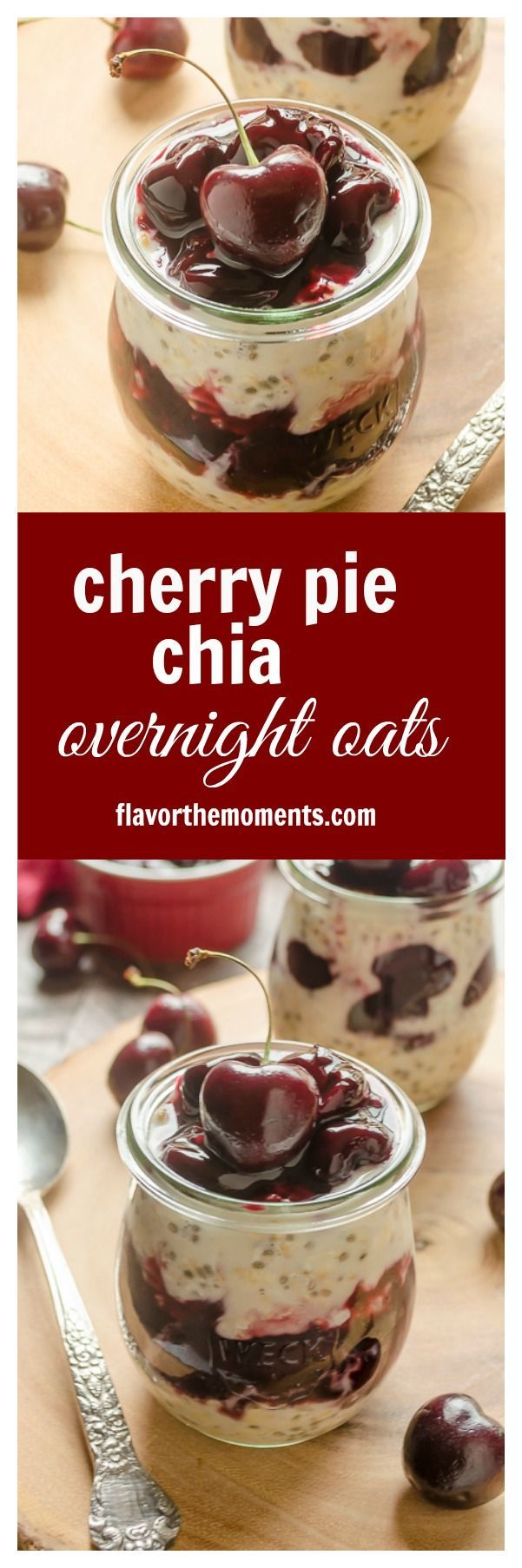 Cherry Pie Chia Overnight Oats are creamy overnight oats with chia seeds and homemade cherry pie filling. These are summer's best overnight oats! @FlavortheMoment