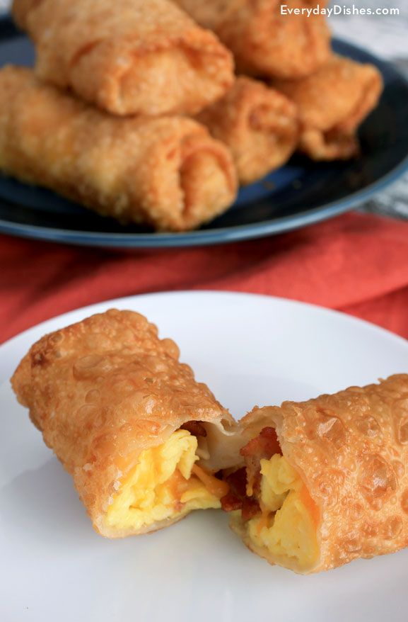 We're always thinking 'burrito' when it comes to breakfast on the run, but now that we've created breakfast egg rolls with scrambled egg, bacon and cheese, our morning meal has a whole new attitude!