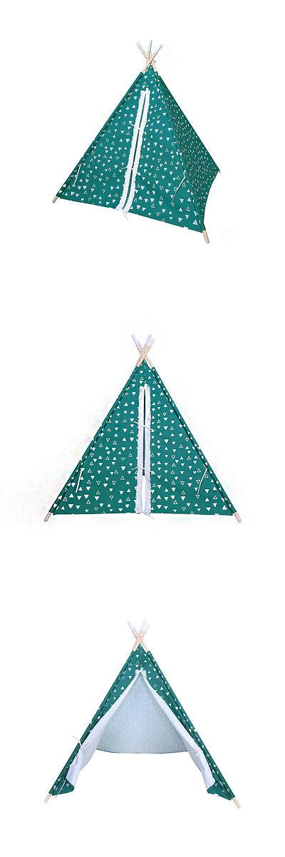 Other Play Tents and Tunnels 11744: Pillowfort - Green Explorer Solid Pine Frame Teepee Portable Playhouse Tent -> BUY IT NOW ONLY: $69.99 on eBay!