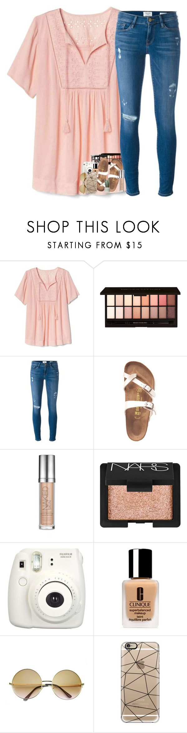 """Last week of school!!"" by classyandsassyabby ❤ liked on Polyvore featuring Gap, ULTA, Frame, Birkenstock, Urban Decay, Chanel, NARS Cosmetics, Fujifilm, Clinique and ZeroUV"