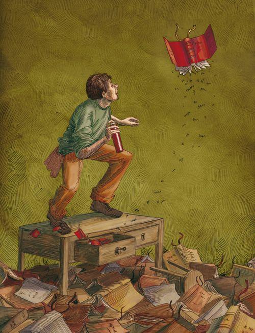 Anti books-vermin spray / Spray antilibros-bicho (ilustración de José Rosero