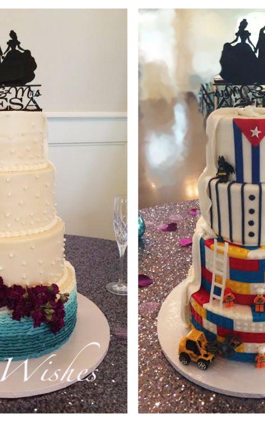 Peak A Boo Bride And Groom Wedding Cake Buttercream Violet Flowers Lego