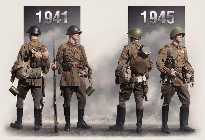 Red army' uniform 1941 vs 1945 | Red army, Soviet red army, Army uniform