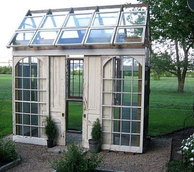 Love this greenhouse!: Gardens Ideas, Green Houses, Reclaimed Windows Greenhouses, Summer House, Salvaged Doors, Google Search, Glasses Windows Greenhouses, Glasses Greenhouses, Sliding Doors