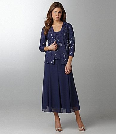 Alex Evenings Woman Sequin Twin Set and Chiffon Skirt #Dillards