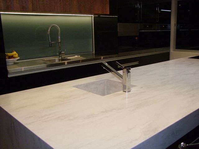 Corian Raincloud Waterfall Island With Stainless Steel