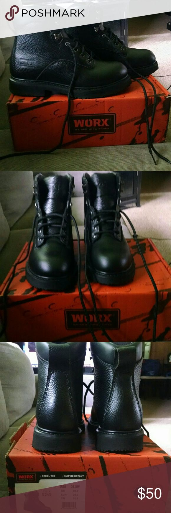 WORX by Red Wing Women's Black Work Boots In a Size 8.5 (room for thick winter socks on me, usually an 8M). With a steel toe, high ankle height, heavy duty for industrial workplace. NWT, never worn, have been in original box since purchase. Excellent quality leather work boots. MUST GO! Red Wing Shoes Shoes Combat & Moto Boots
