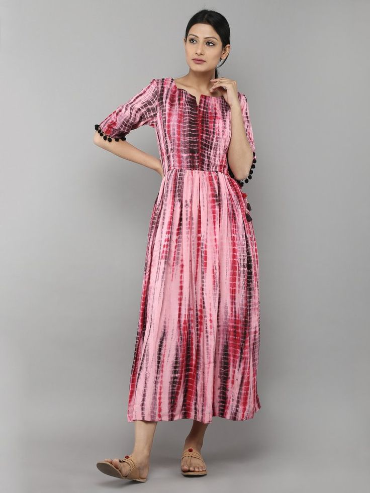 Brown Tie and Dye Cotton Silk Dress