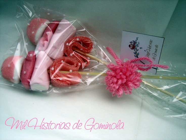 Brochetas chuches / gominolas / rosa / bautizo / boda / comuniones