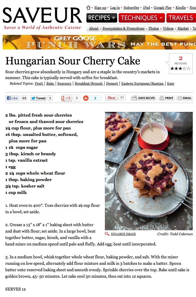 Hungarian Sour Cherry Cake    Recipe by Sarah Copeland    Saveur Magazine