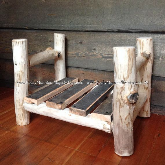 Inspiration RUSTIC LOG BED, Aspen Wood, Newborn Photography Photo Prop, Natural, Primitive, Hand-Peeled, Eco Friendly, Dog Bed, Pet Bed, Reclaimed Wood $69