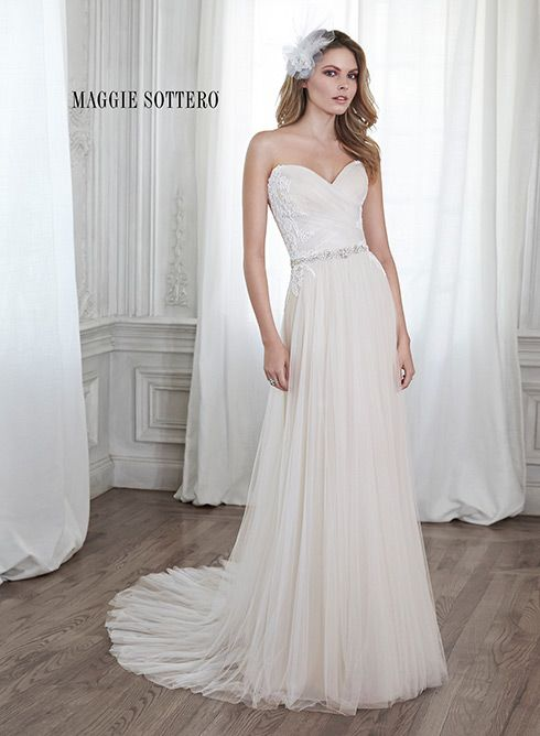 www.uptowngownsga.com Stunning tulle sheath wedding dress, accented with a dainty Swarovski crystal belt and sweetheart neckline, Patience by Maggie Sottero.