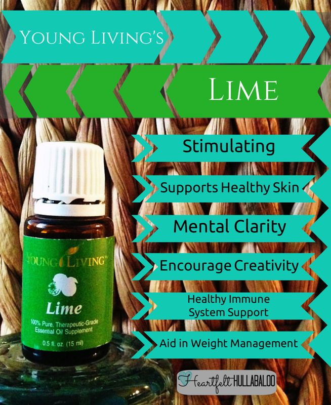 Young Living's Lime. Stimulating, supports healthy skin, mental clarity, encourage creativity, healthy immune system support, aid in weight management. #essentialoils #undertwentydollars #heartfelthullabaloo