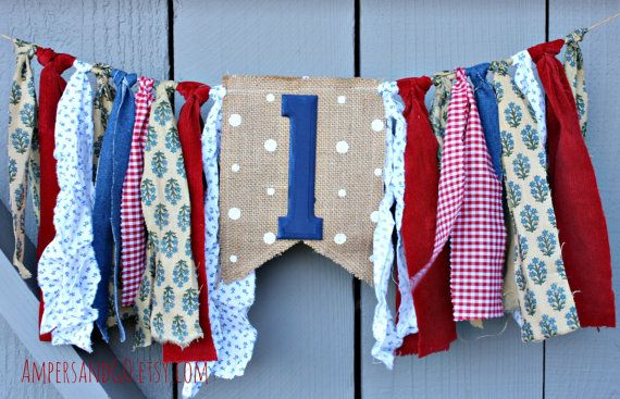 First Birthday Banner, Highchair Banner, High Chair Bunting, Vintage Red White and Blue, Birthday Party Decor Cake Smash Photo Prop Backdrop
