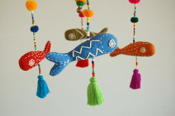 Красочные Ручной Вышивкой Океаническая Рыба Девочка Мобил - Светло-Розовая Рамка