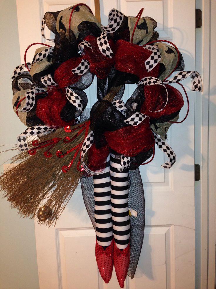 Wicked witch wizard of oz wreath halloween