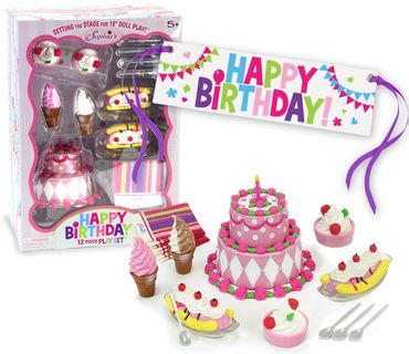 12 piece birthday party accessories for 18 inch dolls and plush