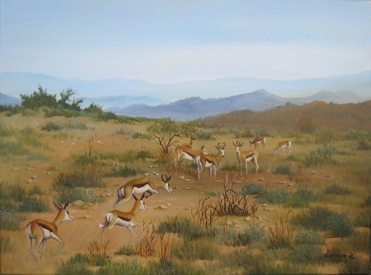 Leonora de Lange - Karoo landscape with Springbuck. oils on canvas