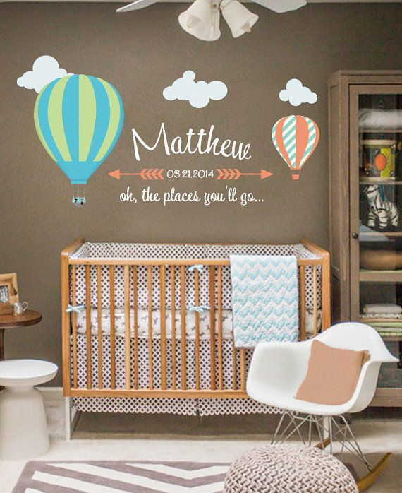 Hot Air Balloon Personolized Wall Decal Nursery U0026 By PolkaDotWalls, $75.99  | Everyday Walls | Kids Room Wall Decals, Nursery Wall Decals, Nursery