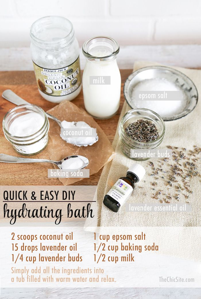 *Soak for 20 minutes. Epsom Salt — Relaxes sore muscles. Lavender Essential Oil — Promotes relaxation. Coconut Oil — Hydrates and softens skin. Baking Soda — Acts as a cleanser and has anti-fungal properties. Milk — Lactic acid helps remove dead skin cells and soothes irritated skin. Lavender Buds — Simply because it makes you feel fancy the spa-like atmosphere reduces stress.