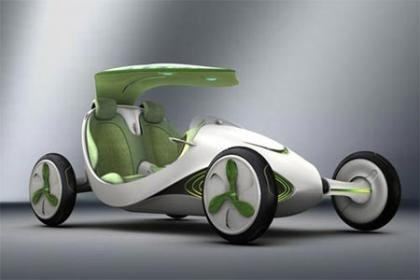 """Do futuro: o modelo da Shanghai Automotive Industry Corporation terá """"telhado de folhas"""" (um painel solar) para gerar e armazenar energia elétrica."""