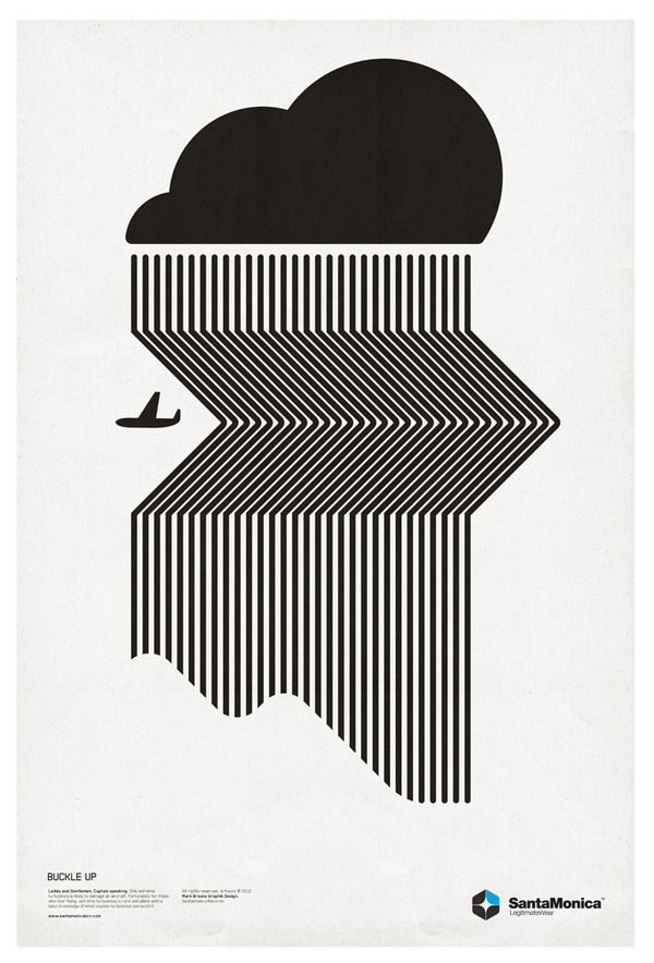 This is a piece by Mark Brooks for Santa Monica Legitimate Wear. The black and white are really contrasting against one another and the slanting lines create an interesting illusion, like the rain will just move for the plane. It's really minimal, which I like. I feel that the solid black cloud balances out all the thin black lines.
