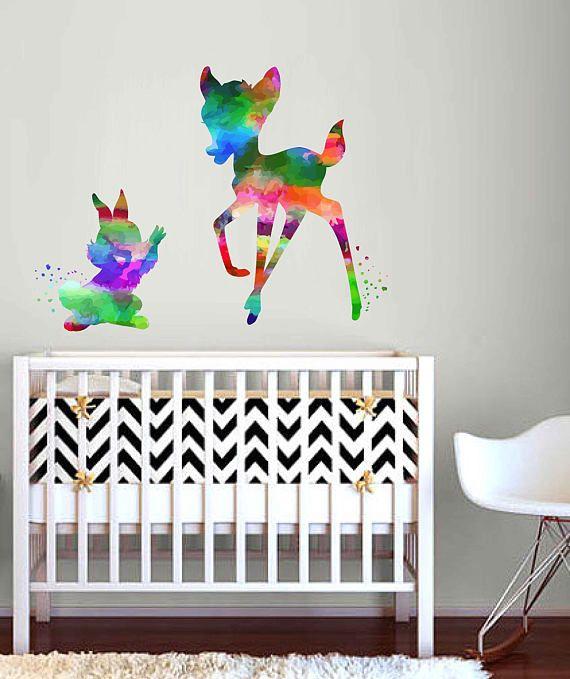 kcik2113 Full Color Wall decal Watercolor Bambi Character