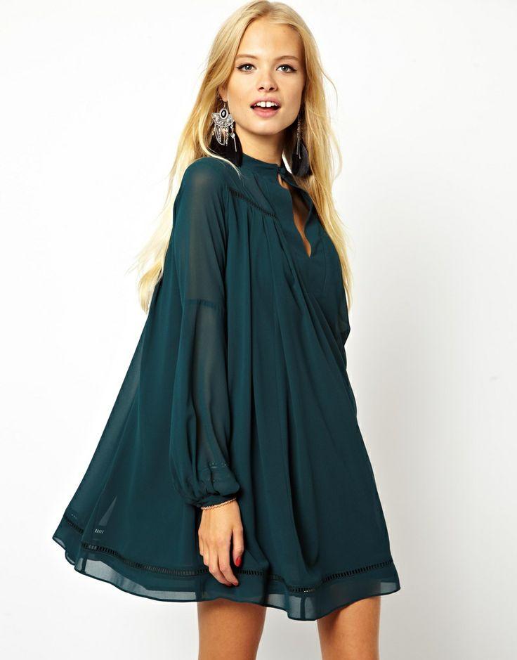 ASOS | ASOS Swing Dress With Trim Detail at ASOS
