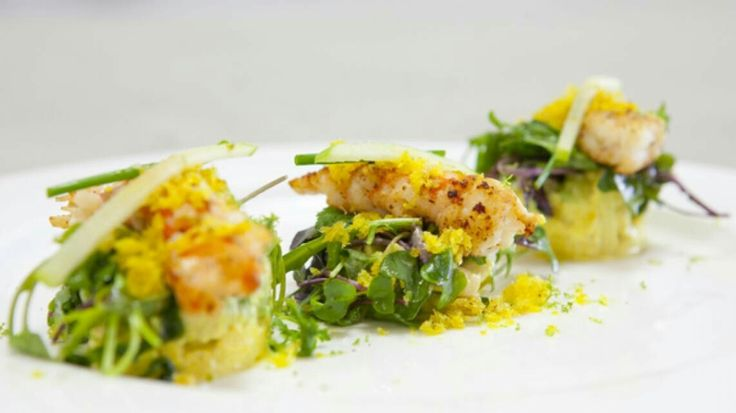Scampi, avocado, curry, granny smith, ...