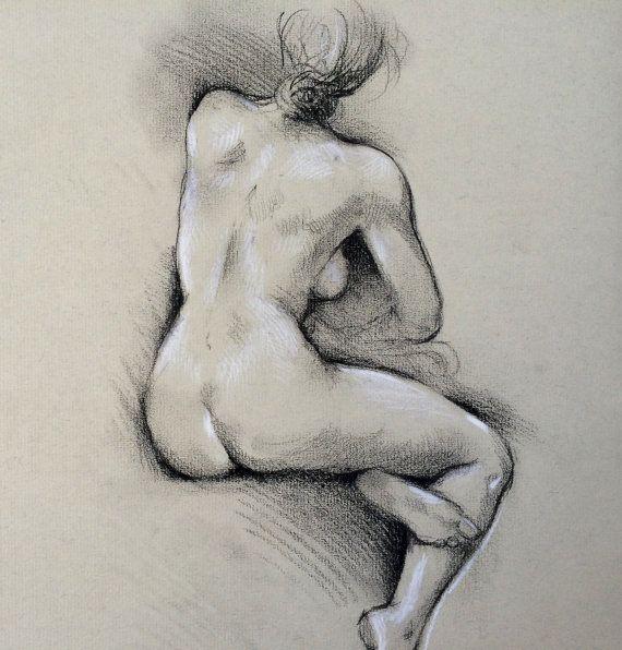 Akt Zeichnung Rücken sitzend ORIGINAL Bild artistic von narteck