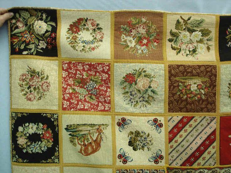 "Rare 19th c. needlepoint sampler hooked rug having multi-floral blocks. Found in Pennsylvania. Has interesting cotton decorative backing. 64"" x 65""."