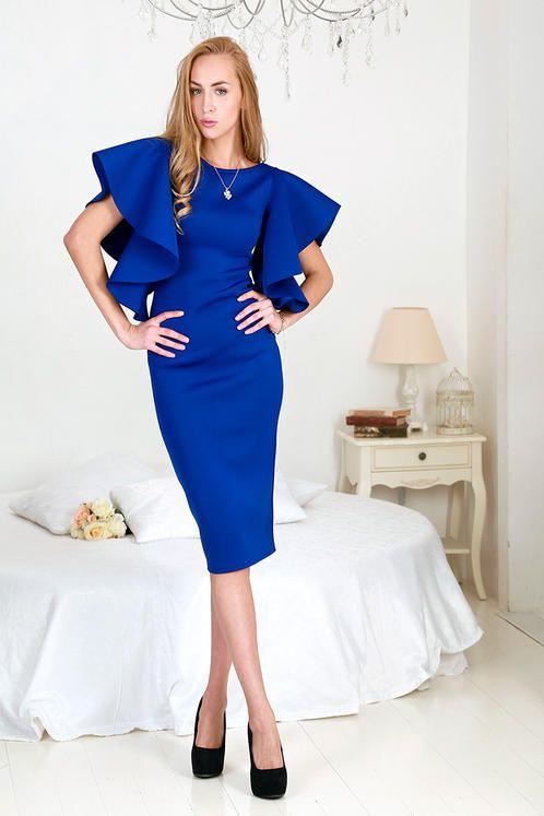 Силуэтное платье из неопрена с пышными рукавами | 1001 ПЛАТЬЕ Таганская, 26