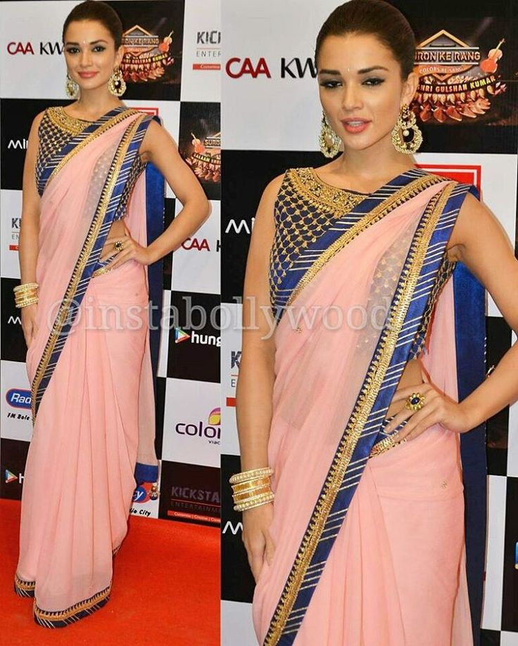"""""""Amy Jackson sizzles in Alpa reena saree and Aquamarine Jewellery for Suron Ke sang last night, super styled by Mansi Patel. . Rate her look …"""""""