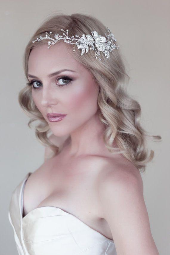 wired bridal halo headpiece silver swarovski crystal rhinestone hair comb bohemian art deco wedding headpiece