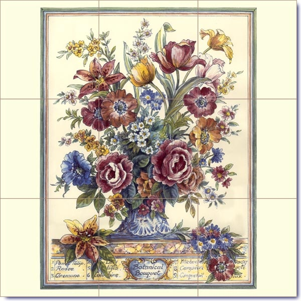 Victorian Botanical Mural on Ceramic Tiles      My style......