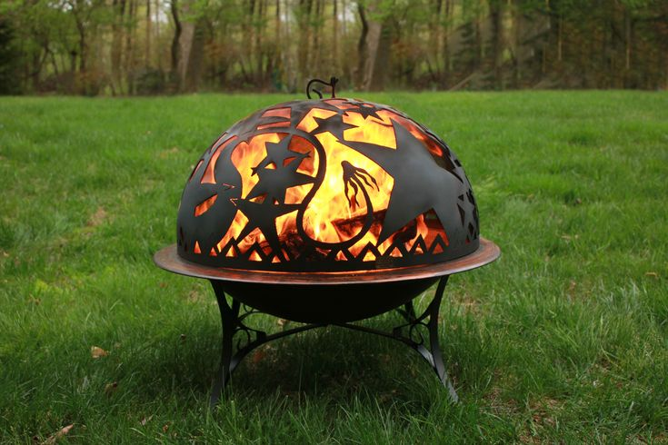 Fire pit with orion firedome spark screen in 2020 wood