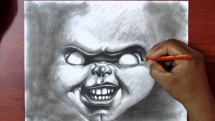 Learn to Draw - Exercise #2 - Charcoal - Drawing Chucky - Real Time Tuto...
