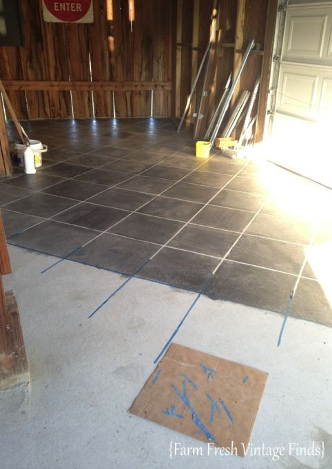 How to stain concrete to look like tile with a $9 gallon of oops stain-farmfreshvintagefinds.com