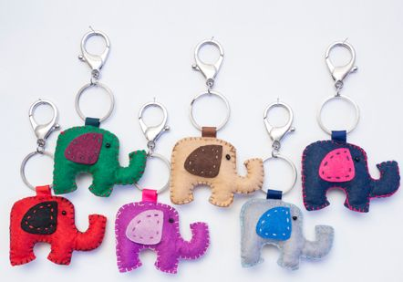 Elephant felt key rings - 2563