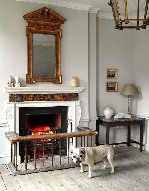 I love the mirror above the mantle as well as the gate around the fireplace for the doggy.