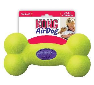 Kong Air Dumbbell Large Dog Toy   The Kong air dog toys are made with a special nonabrasive tennis ball fabric will not wear down a dog's teeth. All squeaker units are recessed in rubber and covered with tennis ball fabric for safety. Give them a squeak.