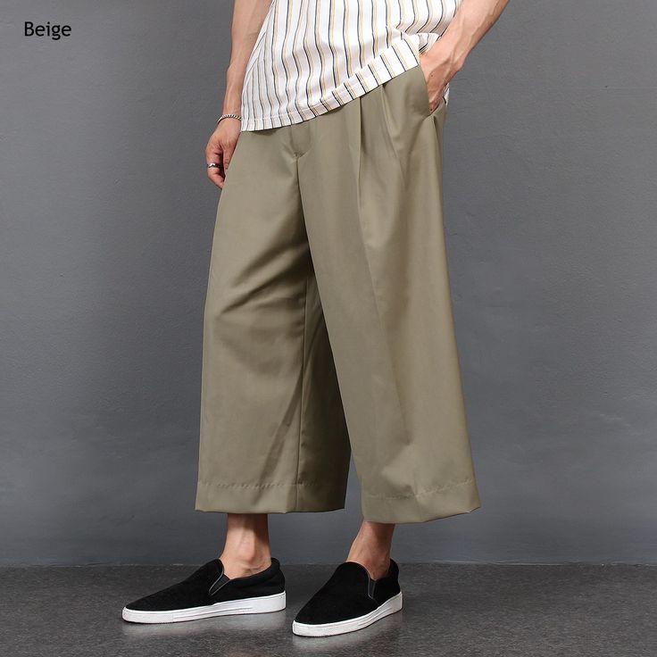 Loose Fit Pleated Wide Slacks Pants
