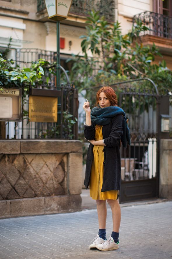These colours!! (The Sartorialist: On The Street…Passatge Mercader, Barcelona)