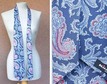 Kiton Napoli Blue Paisley Silk Tie