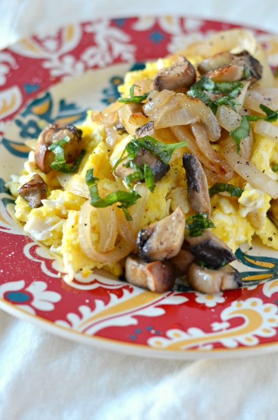 Scrambled Eggs with Caramelized Onions, Mushrooms, and Fresh Basil She ...