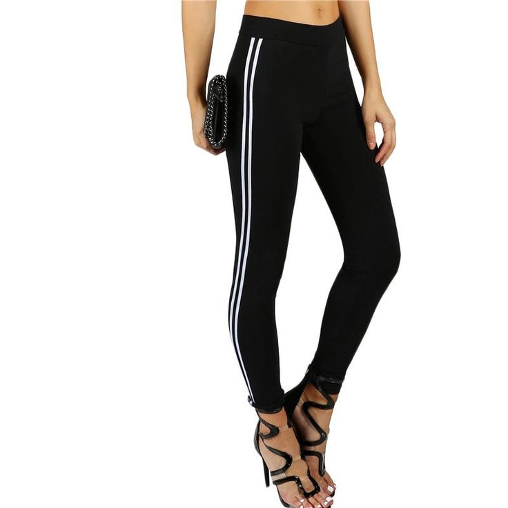 Side Striped Trainer Leggings Female Black Ankle Length Autumn Bottoms Mid Waist Fitness Leggings