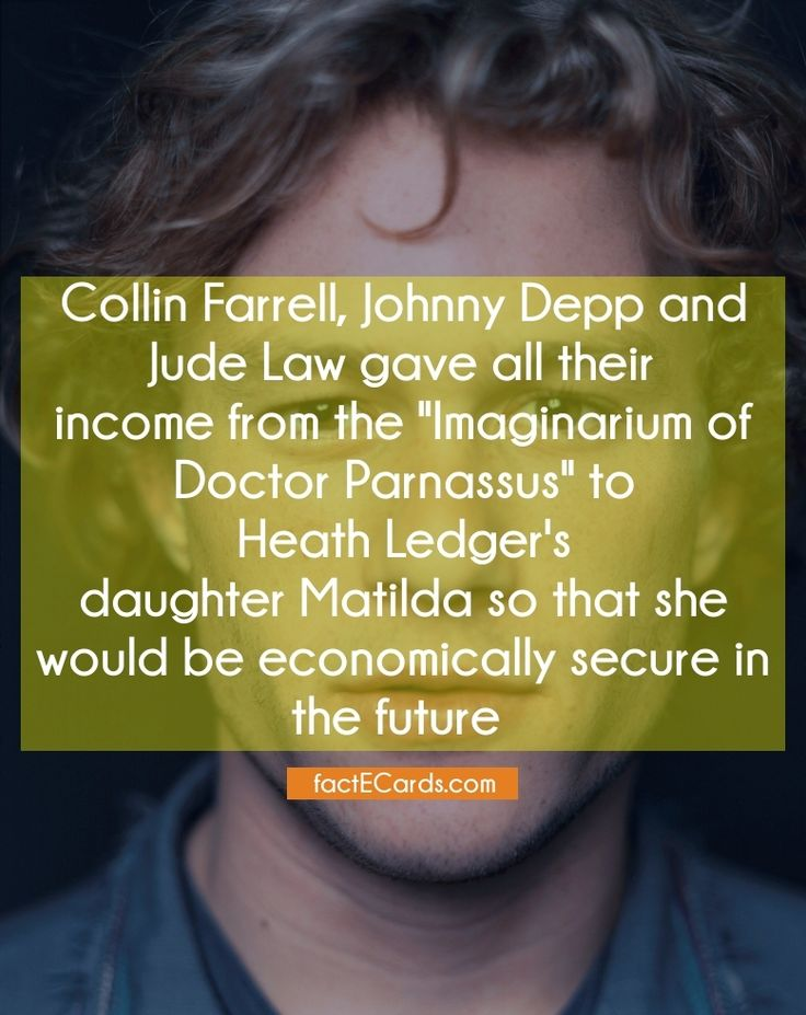 """Collin Farrell, Johnny Depp and Jude Law gave all their income from the """"Imaginarium of Doctor Parnassus"""" to Heath Ledger's daughter Matilda so that she would be economically secure in the future - http://factecards.com/collin-farrell-johnny-depp-jude/"""