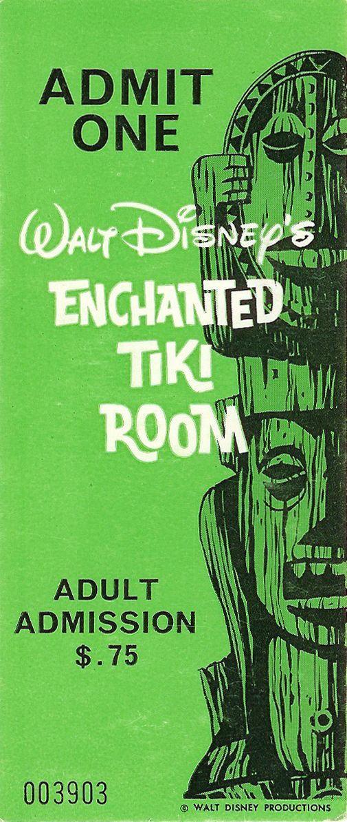 Vintage Tiki Room ticket-My grandmothers favorite attraction...she knew a good time when she saw one.
