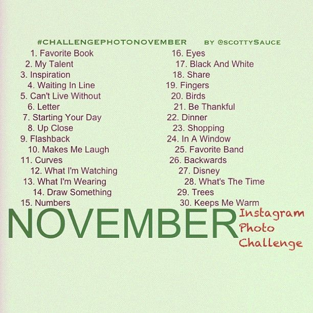 November Instagram Photo Challenge.. I usually don't do this shit but I'm almost temped to do it