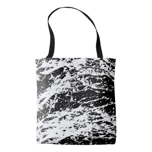 Distressed Black and White Distressed Paint Tote Bag